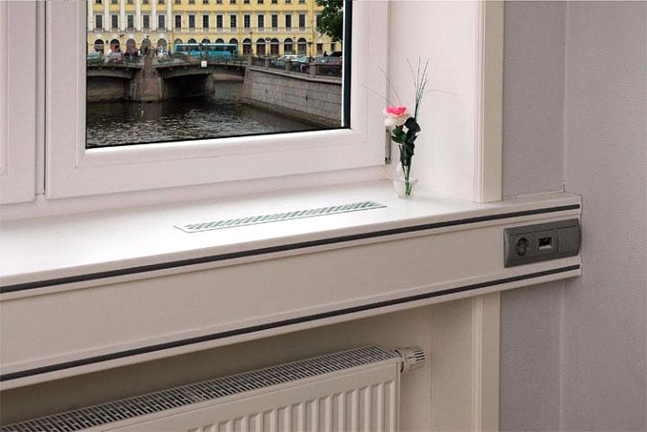 Как встроить в подоконник вентиляционные решетки